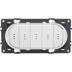 Выключатель-переключатель Celiane пятиклавишный с подсветкой (белый) 067001+068020+067686+080252