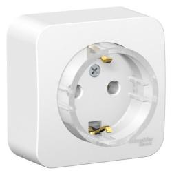 Розетка компактная с заземлением без шторок Blanca Schneider Electric О/У с изолир. пластиной (белый) BLNRA110111