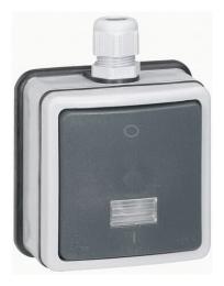 Одноклавишный двухполюсный переключатель на два направления с подсветкой IP66 Plexo в сборе 10 без ламп 090464