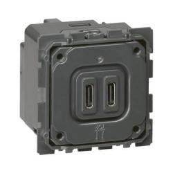 Механизм двойной USB розетки Legrand Celiane тип С/тип С 067466