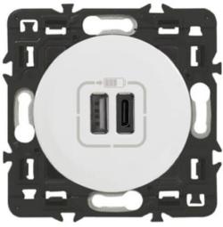 Розетка USB Celiane тип А/тип С (белая) 067465+068256+080251
