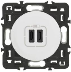 Розетка USB Celiane тип C/тип C (белая) 067466+068256+080251