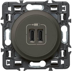 Розетка USB Сeliane  тип C/тип C (графит) 067466+067956+080251
