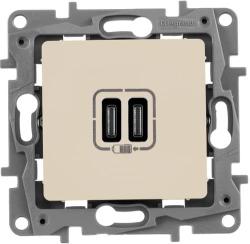 Розетка USB Etika с двумя разъемами тип C/тип С (слоновая кость) 672335