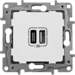Розетка USB Etika с двумя разъемами тип А/тип С (белая) 672236
