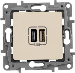 Розетка USB Etika с двумя разъемами тип А/тип С (слоновая кость) 672336