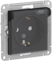 Розетка влагозащищенная с крышкой и защитными шторками IP 44 AtlasDesign (карбон) ATN441046