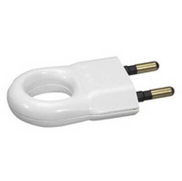 Вилка 6А без заземления (белая) 050162