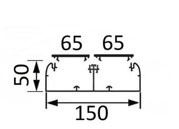 Кабельный канал DLP 50х150 с 2 крышками 65мм и несущей перегородкой 010427