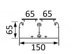 Кабельный канал Legrand DLP 65х150 с двумя крышками 65мм и несущей перегородкой 010433+010521+010473