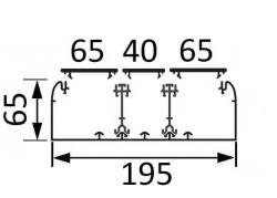 Кабельный канал Legrand DLP 65х195 с тремя крышками 2х65 и 40мм и с двумя несущими перегородками 010453+010521+010520+010473