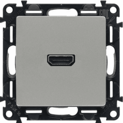 Розетка HDMI Valena Life с лицевой панелью (алюминий) 753371