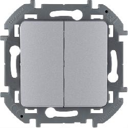 Выключатель двухклавишный Inspiria (алюминий) 673622