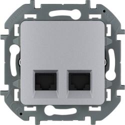 Розетка компьютерная двойная Inspiria (алюминий) 673842