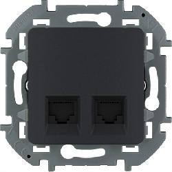 Розетка компьютерная двойная Inspiria (антрацит) 673843