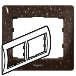 Рамка Galea life двухместная горизонтальная (кориан Cocoa Brown)