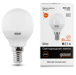 Светодиодная лампа Gauss LED Elementary шар 8Вт. Е14 (теплый свет) 53118