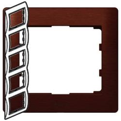 Рамка Galea life пятиместная вертикальная (махагон)