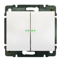 Выключатель двухклавишный Galea Life с подсветкой (белый)