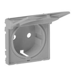 Лицевая панель Legrand Valena Life для розетки с крышкой с заземлением (алюминий) 754842