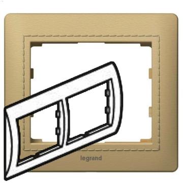 Рамка Galea life двухместная горизонтальная (светлая кожа Havana) 771991