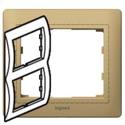 Рамка Galea life двухместная вертикальная (светлая кожа Havana) 771993