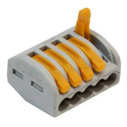 Клеммник WAGO с рычагами на 5 проводника до 4мм² 222-415
