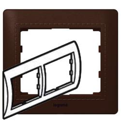 Рамка Galea life двухместная горизонтальная (тёмная кожа Club) 771996
