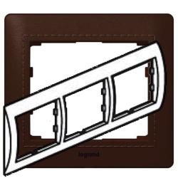 Рамка Galea life трехместная горизонтальная (тёмная кожа Club) 771997