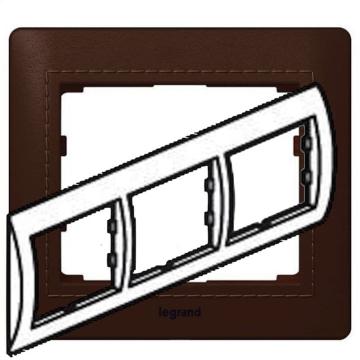 Рамка Galea life трехместная горизонтальная (тёмная кожа Club)