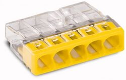Клемма WAGO 5x2.5мм для распределительных коробок без пасты 2273-0205