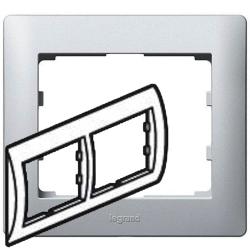 Рамка Galea life двухместная горизонтальная (алюминий)