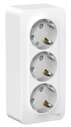 Розетка с заземлением тройная со шторками Blanca О/У с изолир. пластиной (белый) BLNRA011311