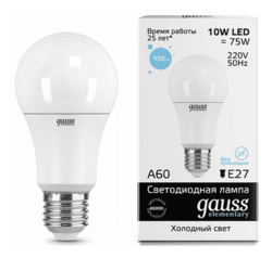 Светодиодная лампа Gauss LED Elementary 10Вт. Е27 (холодный белый свет) 23230