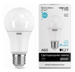 Светодиодная лампа Gauss LED Elementary 10Вт. Е27 (естественный белый свет) 23220
