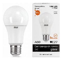 Светодиодная лампа Gauss LED Elementary 10Вт. Е27 (теплый свет) 23210