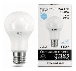 Светодиодная лампа Gauss LED Elementary 15Вт. Е27 (холодный белый свет) 23235