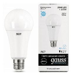 Светодиодная лампа Gauss LED Elementary 25Вт. Е27 (холодный белый свет) 73235
