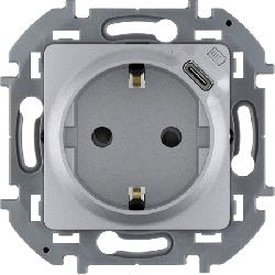 Розетка электрическая с USB Inspiria (алюминий) 673772