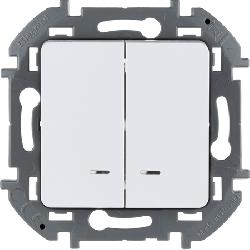 Выключатель двухклавишный с подсветкой Inspiria (белый) 673630