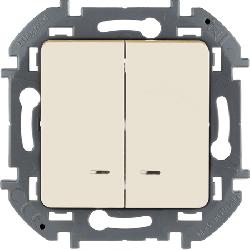 Выключатель двухклавишный с подсветкой Inspiria (слоновая кость) 673631