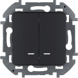 Выключатель двухклавишный с подсветкой Inspiria (антрацит) 673633