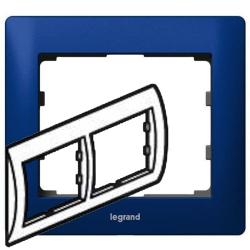 Рамка Galea life двухместная горизонтальная (синий)