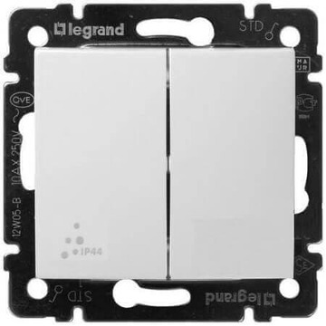 Переключатель двухклавишный влагозащищенный Valena IP44 (белый) 770098