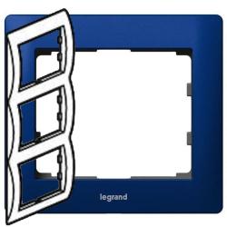 Рамка Galea life трехместная вертикальная (синий)