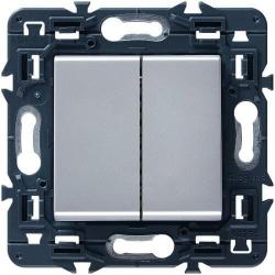 Переключатель двухклавишный кнопочный Mosaic (алюминий)