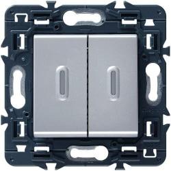 Выключатель-переключатель двухклавишный с подсветкой Mosaic (алюминий) 079202+067686+080251