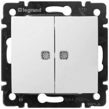 Проходной  двухклавишный переключатель с подсветкой Valena (белый) 774212