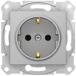 Розетка Sedna с/з со шторками с быстрозажимными клеммами (алюминий) SDN3001760