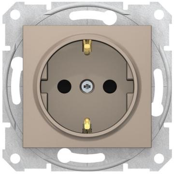 Розетка Sedna с/з со шторками с быстрозажимными клеммами (титан) SDN3001768